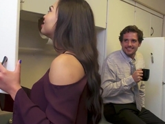 Salaciously curvy office chick Karissa gives in the the cheesy pick up lines