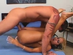 Naughty blonde with huge tits Carmel Moore pounded great