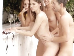 Bartender gets lucky with a trio of European models