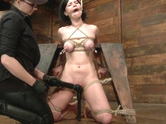 Belle Noire in Pale Big Breasted Brunette Beauty Gets Anal Cherry Taken - HogTied