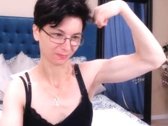 muscled Russian girl flexes