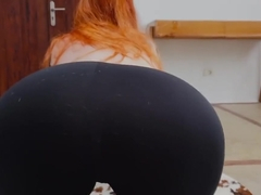 Ginger Redhead Teen Doing Yoga in Sports Bodysuit and Gets Covered with Cum