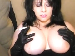 hot milf in leather pants smoke and give you a virtual sex