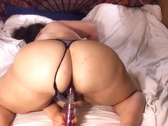 Desperate BBW slut Begs for your cock and fucks pussy with toy. fat whore.
