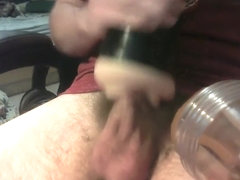 Double fleshlight blowjob with cum fountain finish