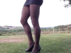 Public outdoor black pantyhose .