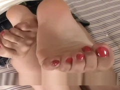 Beautiful Japanese girl's soles (sock strip, red toes)
