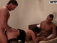 White chick fucked by white and black men