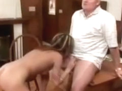 Hot Brunette Giving Old Perv Footjob