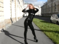 Fetish Lady - Latex Mona walking in sexy catsuit and high heel boots