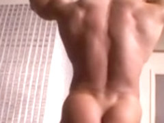 Cool hunk with sexy body masturbates until he climaxes