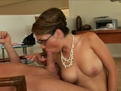 Holly West works hard to get that prick jizz all over her sexy glasses