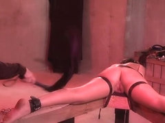 Bound To A Table With Leather Belts And Spanked Hard