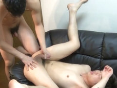 Gay asian stud cums hard