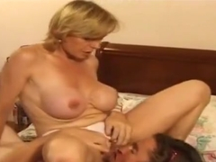 Awesome bushy mature lady Colette Sigma is sucking penis