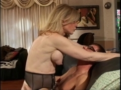 Blond mother I'd like to fuck undresses for juvenile guy who sucks her hard teats