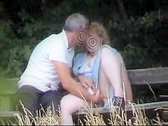 Park bench aged couple spied on from bushes