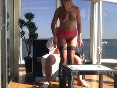 Prostitute fantasy on the Executive Suite's balcony (Cam 2)