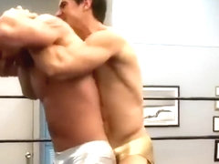 Hot bareback coition of two hunks
