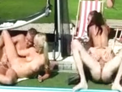 A reverse gang bang for these horny cfnm sluts by the pool