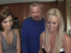 Spicy chicks cooking and playing with delicious cocks