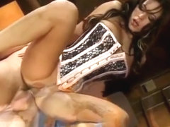 Hot chick in corset gets fucked on desk in ass