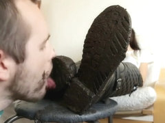 Extreme Muddy Boots Cleaning Laughing Mistress