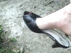 Toe Wiggling Shoe play and Dangling in Slingbacks