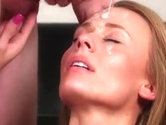 Hot Bombshell Gets Sperm Shot On Her Face Eating All The Spu