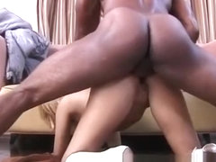 Slutty blonde Letitia has a muscled black stud banging her tight ass