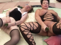 Brunette Matures Get Each Other Off With Vegetables - Mature'NDirty