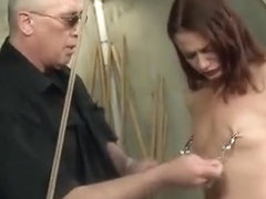 Wasteland Dungeon Master Ties Up Submissive Ten, Nipple Clamps and Whips