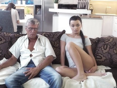 DADDY4K. Old and young lovers have spontaneous sex behind guy's back