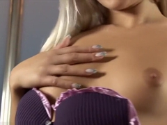 Blonde in lingerie has an orgasm which makes her pee