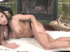 Nikki Rider Alone And Horny In Front Of The Fire