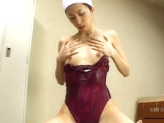 Naughty Noa is a hot JP milf giving hand work in her swimsuit
