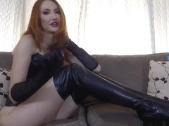 Redhead milf in boots edging JOI