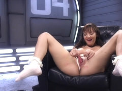 Busty babe in white socks fucks machine