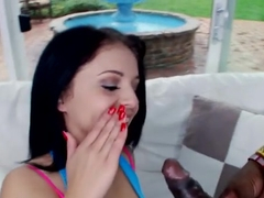 Madelyn Monroe rides the big black pipe