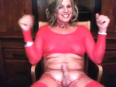 American Blonde Mature Tranny Masturbating in her red lingerie!