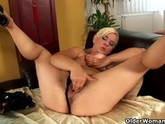 Older mamma with hard nippled large love muffins and full bushed love tunnel