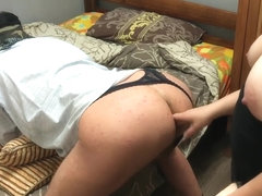 Bend your bi cuckold husband, ass pegging cum swap, sharing and kiss