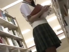 Japanese college girl get fucked and facial on the library toilet