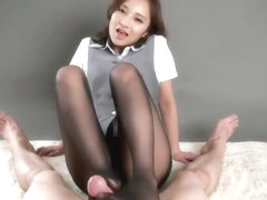 Japanese Hottie Pantyhose Footjob POV