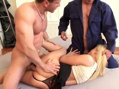 Incredible pornstar in crazy threesome, facial sex scene