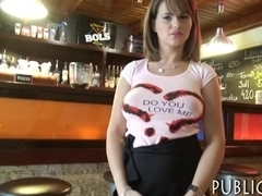Huge boobs waitress screwed up in her workplace for money