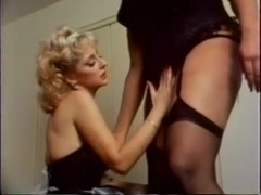 Tall vintage TS drills her maid