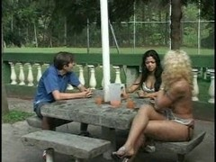 Shemale,girl and stud in outdoor action