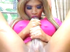 Pretty Shemale Sucks Her Own Huge Cock