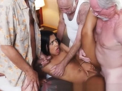Latino Teenager Cockslut Fucks 3 Elderly Geezers
